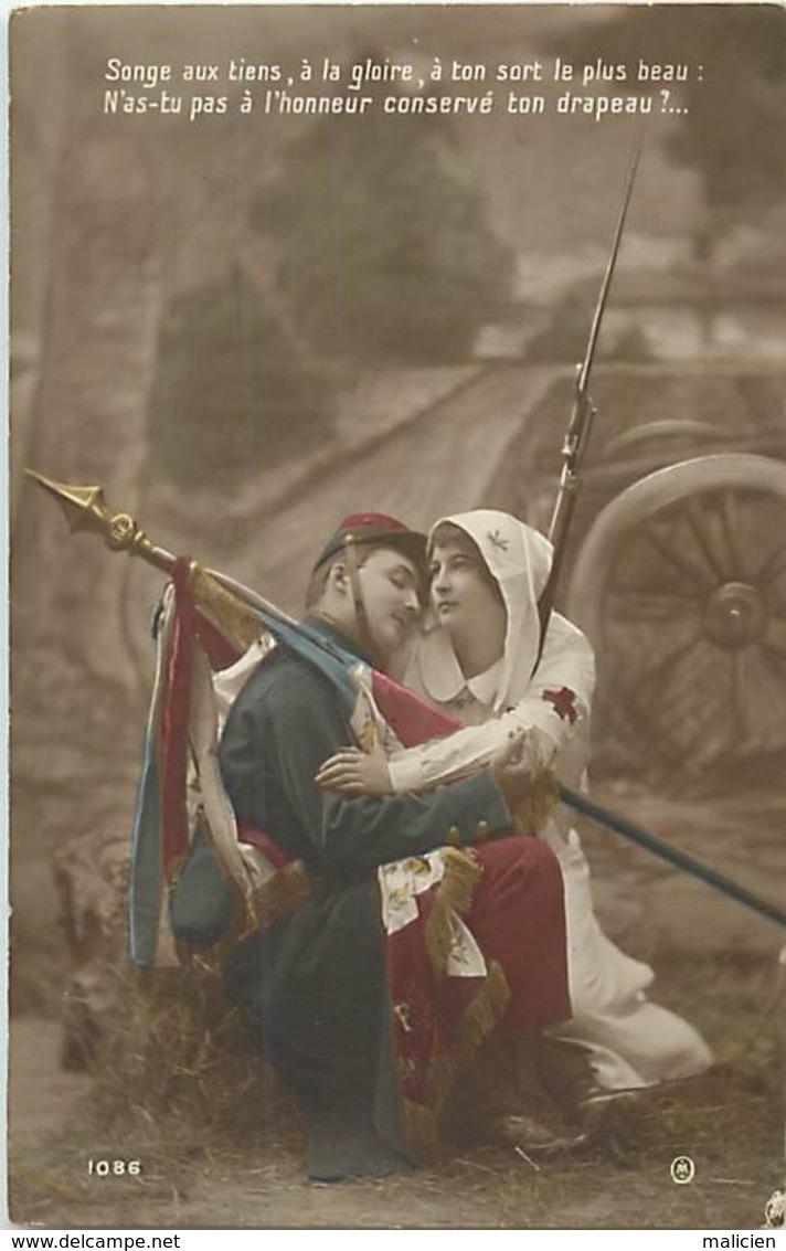 - Themes - Ref-A436- Guerre 1914-18 - Patriotique - Honneur .. Au Drapeau - Soldat - Infirmiere Croix Rouge - Sante - - Patriotiques