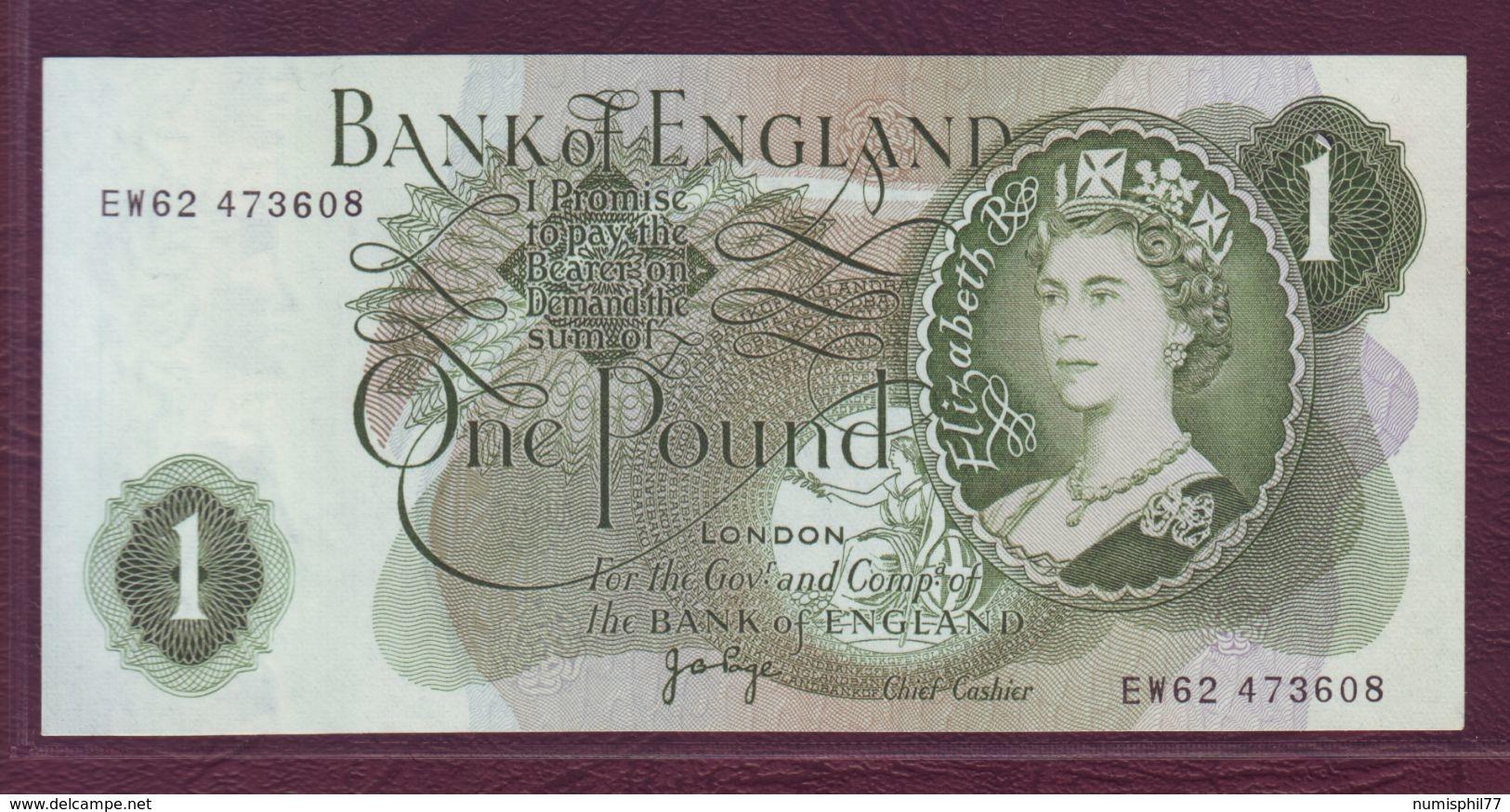 ROYAUME UNI  -  1 POUND Elisabeth II / J.B. Page - 1970-1977 - P.374g - 1952-… : Elizabeth II
