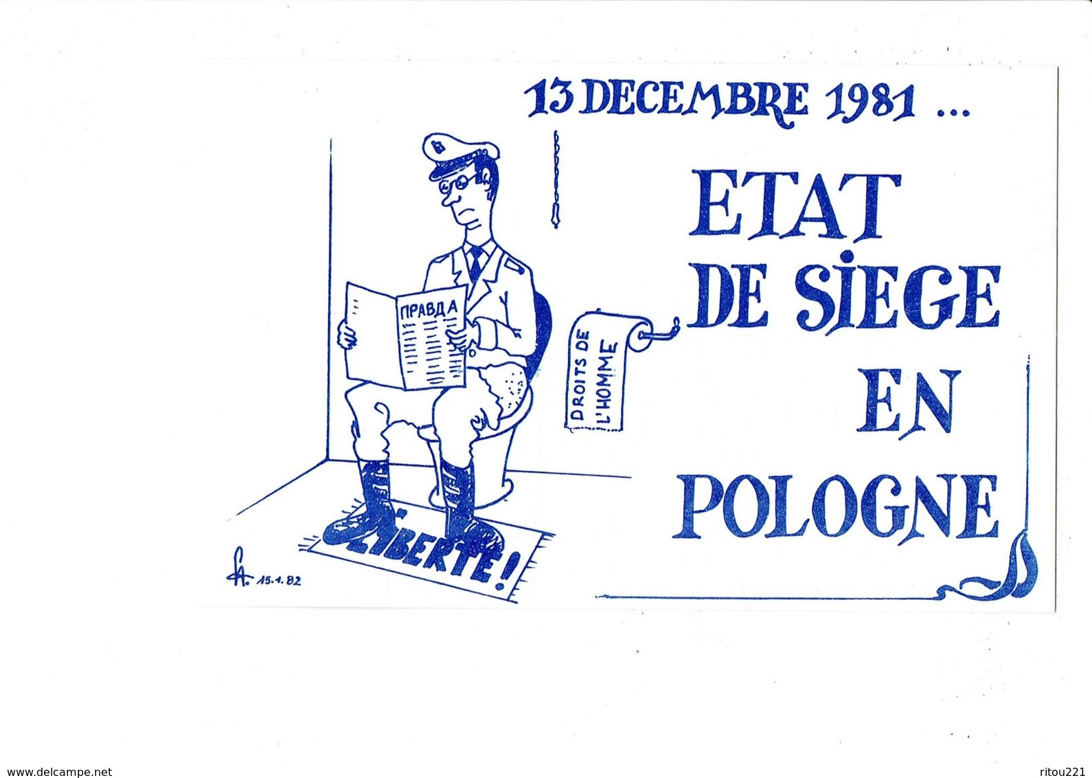 Illustration Carte Politique - 13 Décembre 1981 - Etat De Siège En POLOGNE - Caricature HOMME SUR Wc Liberté - Satiriques