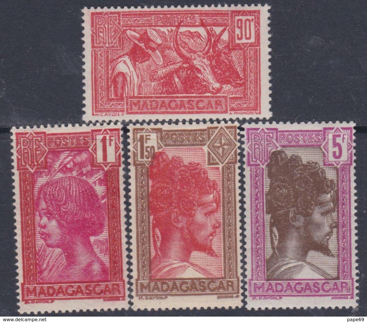 Madagascar N° 174 +175A +176A  + 177 XX Partie Série Chef Sakalave  : Les 4 Vals Ss Cha., Gomme Tropicale   Sinon TB - Madagascar (1889-1960)