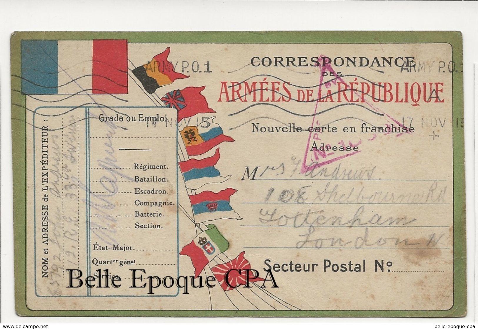 Militaria / Carte-Postale 1915 +++ BRITISH ARMY P. O. ---> Tottenham, London ++++ FM / CENSOR - Marcophilie (Lettres)