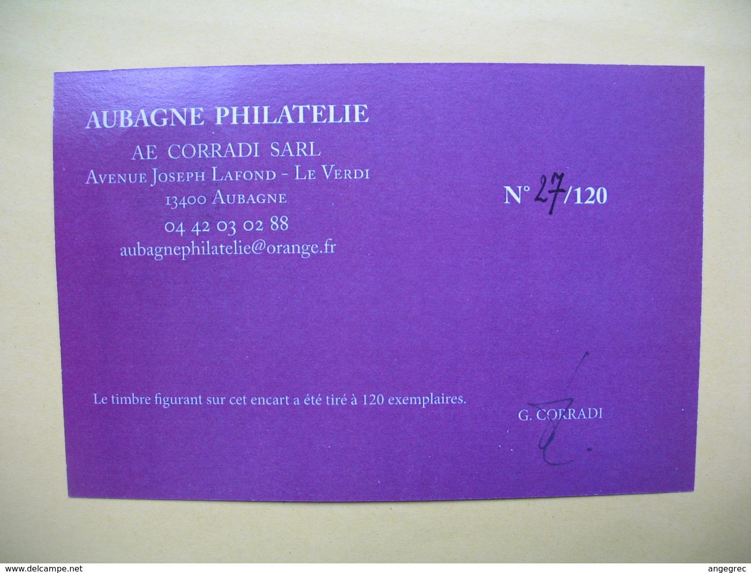 """Pièce De Collection Aubagne Philatélie   N° 27/120 """" Appellation Bandol Contrôlée    Avec Timbre - France"""