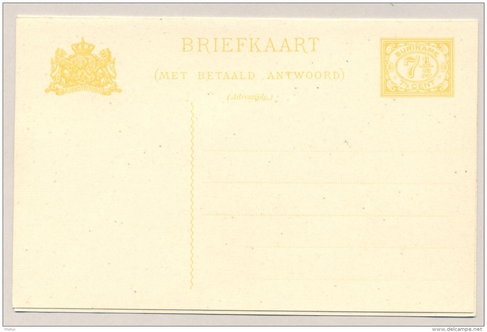 Suriname - 1934 - 7,5+7,5 Cent Cijfer, Briefkaart G37 - Ongebruikt Unused - Suriname ... - 1975