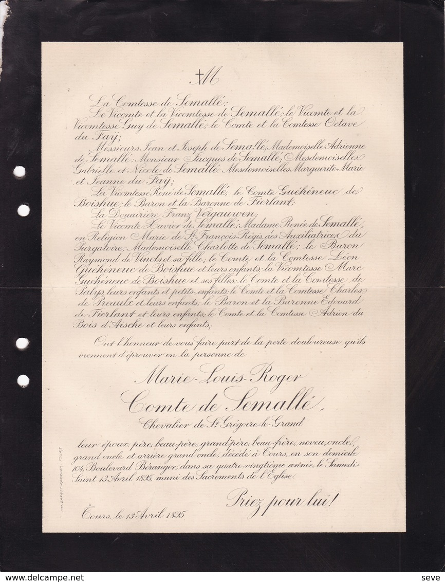 TOURS Boulevard Béranger Marie-Louis Comte De SEMALLE 81 Ans 1895 Famille De GUEHENEUC - Décès