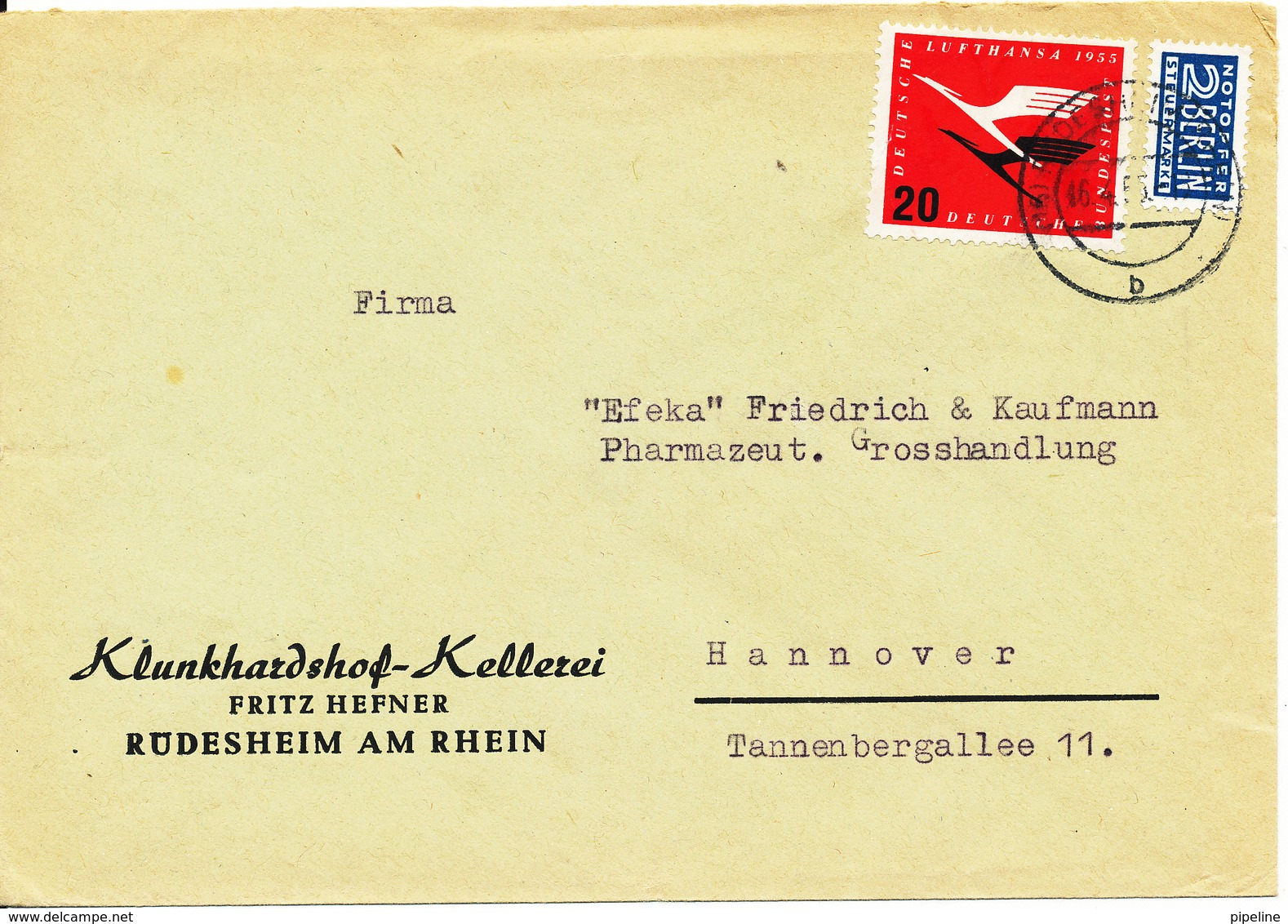 Germany Cover 16-4-1955 With Lufthansa 20 Pf. (the Stamp Is Damaged) - [7] Federal Republic