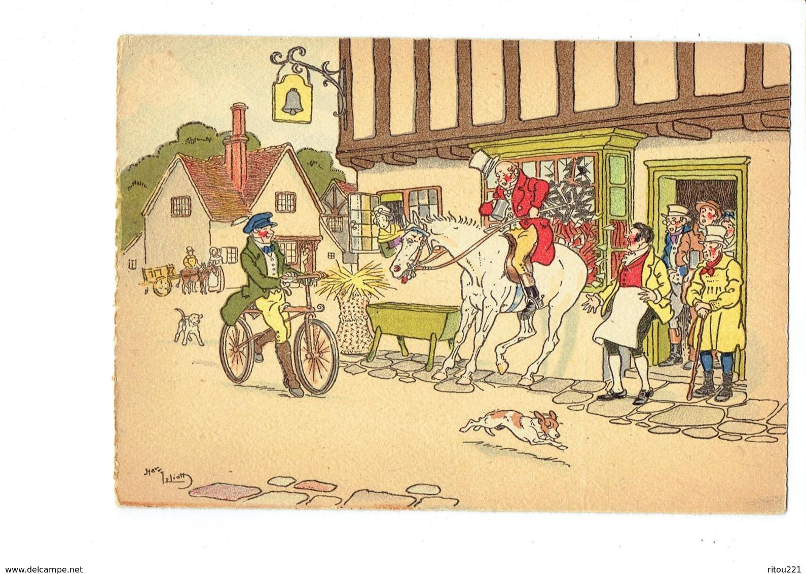 Cpm Illustration BARRE DAYEZ, Illustrateur Harry Eliott Bicyclette Vélo Enseigne Cloche Chien Cheval Cavalier Peur - Autres Illustrateurs