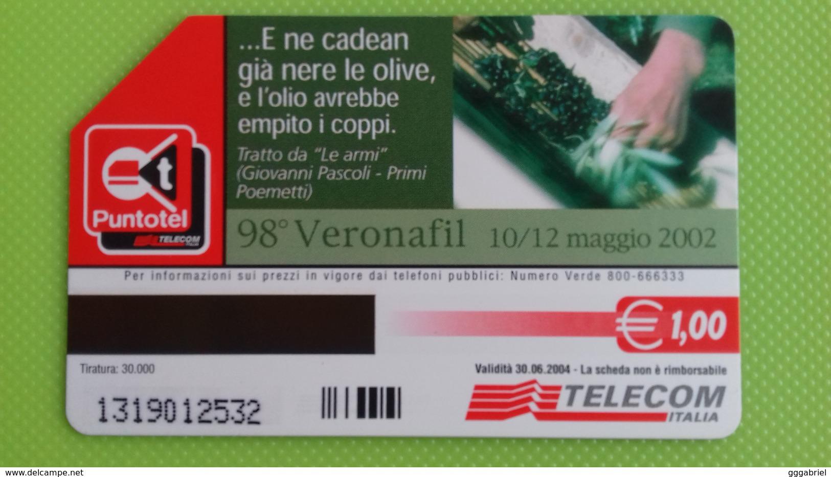 Scheda Telefonica 98° VERONAFIL - Verona - 2002 - Usata - Pubbliche Ordinarie