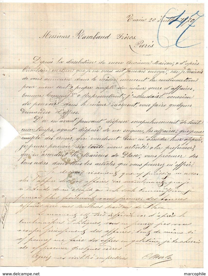 TORINO - TURIN - ITALIE - ITALIA / 1870 LAC POUR PARIS & CACHET D'ENTREE EN FRANCE (ref 7440) - 1861-78 Victor Emmanuel II