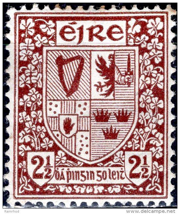 IRELAND 1922 Arms Of Ireland - 2 1/2 D - Brown MH - 1922-37 Stato Libero D'Irlanda