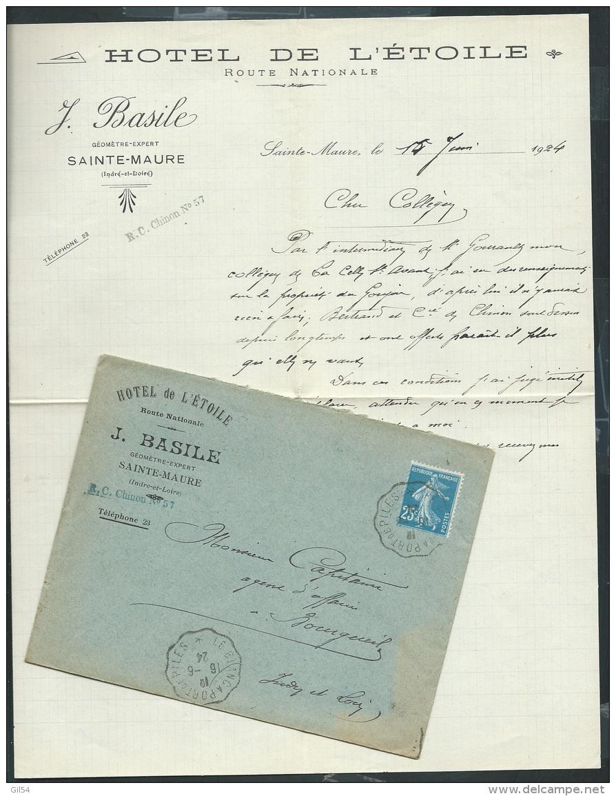 """LAC Avec Entète Commerciale Hotel De L'étoile , Sainte Maure , Ambulant """" Le Blanc à Port De Piles  Af27005 - Postmark Collection (Covers)"""