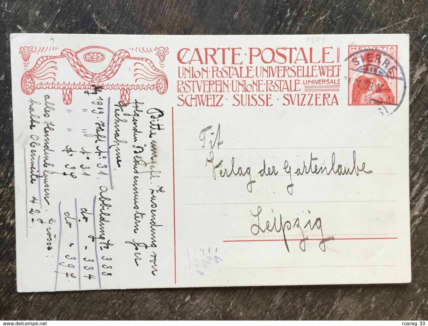 K5 Schweiz Suisse Helvetia Ganzsache Stationery Entier Postal P 68a Von Sierre Nach Leipzig - Stamped Stationery