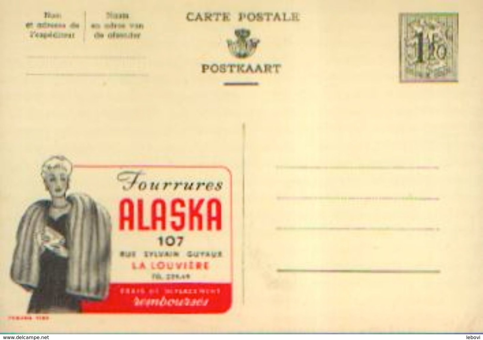 Carte Postale Neuve – PUBLIBEL N° 1280 « Fourrures Alaska – LA LOUVIERE » - Stamped Stationery