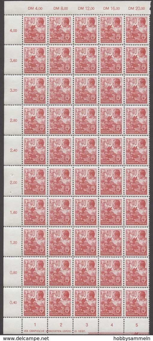 DDR, 1953, Fünfjahrplan I, MiNr. 362-379 (ohne 371), **, Halbe Schalterbögen Ungefaltet (50), Meist Mit DV, Meist Mit RL - DDR