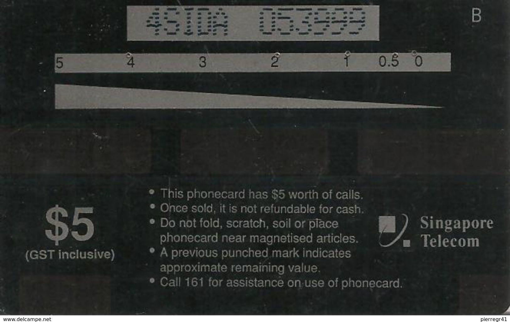 CARTE-MAGNETIQUE-1990 -SINGAPOUR-5$-TELEPHONE ROUGE Liaison AMERIQUE--BE - Singapour