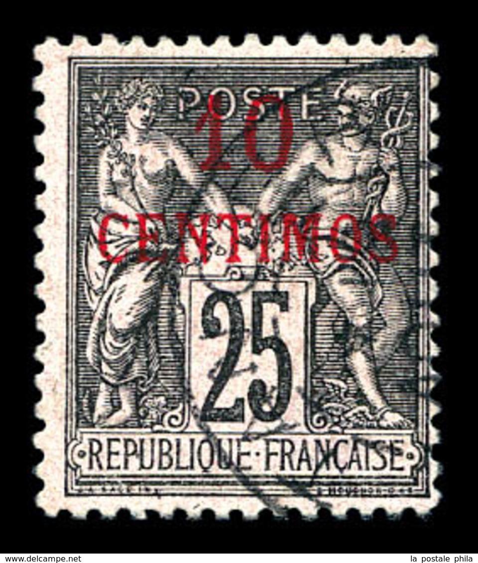 O MAROC BUREAUX Français, N°5d, Erreur, 10c Sur 25c Noir Sur Rose. SUP. R.R (signé Brun/certificat)   Qualité: O   Cote: - Marokko (1891-1956)