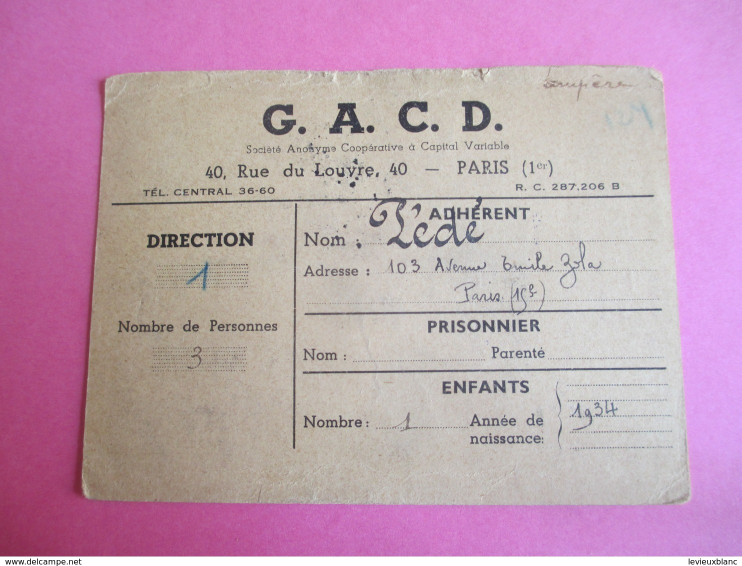 Militaria/Doc Administratif/G.A.C.D./Rue Du Louvre Paris/Distribution De Vin/Verres Vides Rendus/Daniel PEDE/1945 AEC136 - Autres Collections