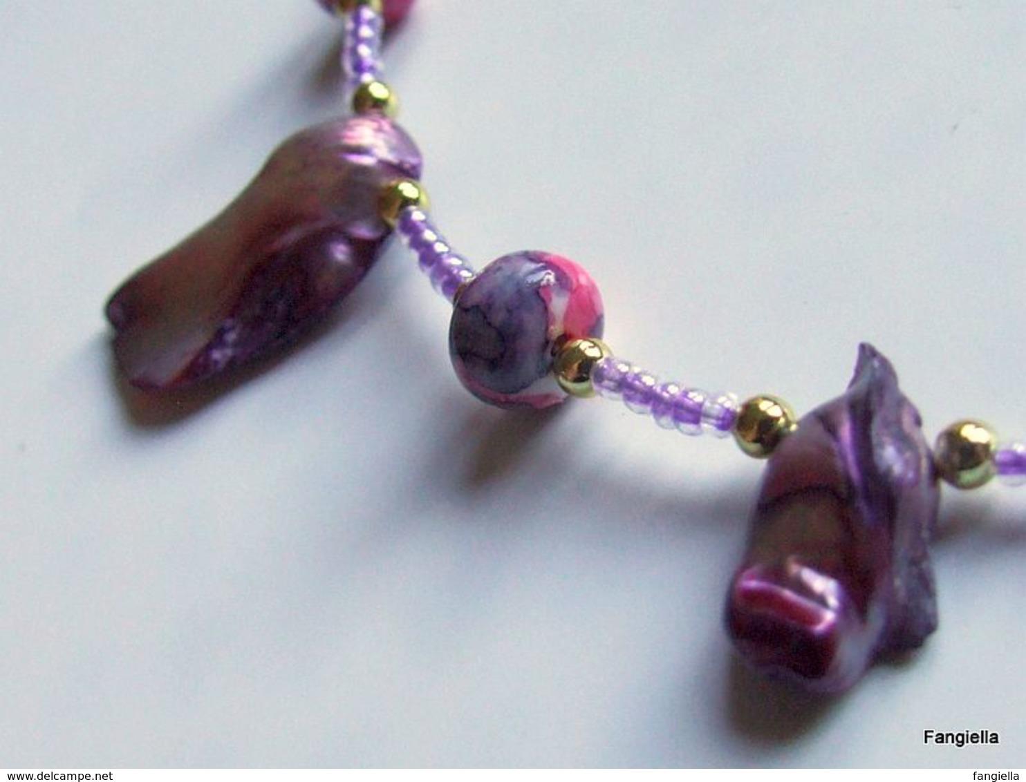 Collier Perles De Culture En Formation Dans Leur Gangue Et Jaspe Sédimentaire - Ethnics
