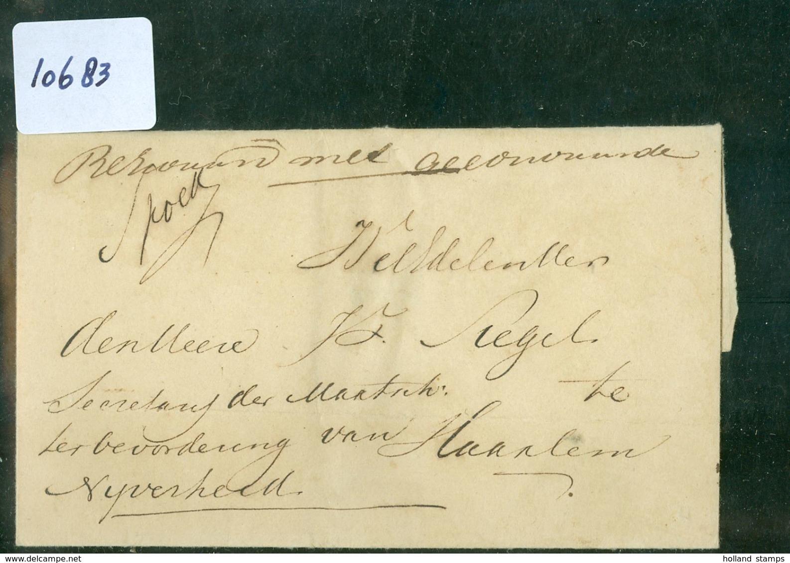 BRIEFOMSLAG PER EXP. JONKER Uit 1846 SPOED Gelopen Van DELFT Naar HAARLEM (10.683) - Nederland