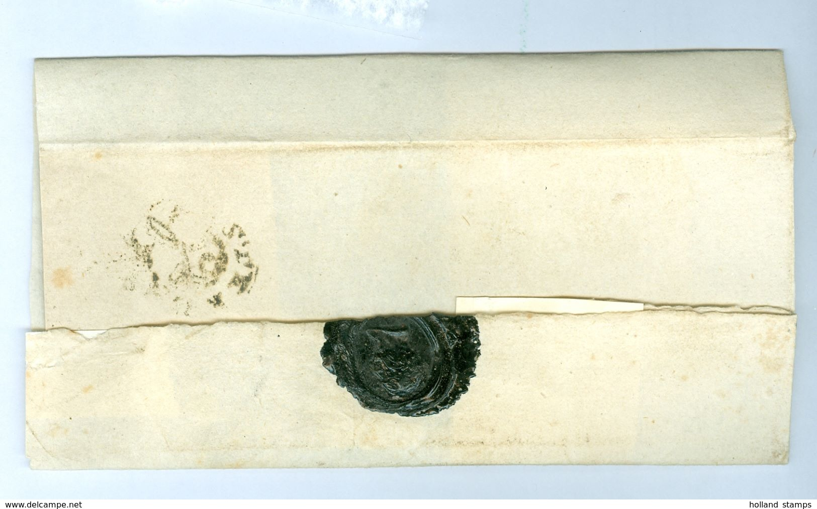 BRIEFOMSLAG Rond 1784 Gelopen POSTHOORN STEMPEL AMSTERDAM Naar DOOPSGEZINDE GEMEENTE Te HAARLEM  Zwart Lakzegel (10.687) - ...-1852 Voorlopers