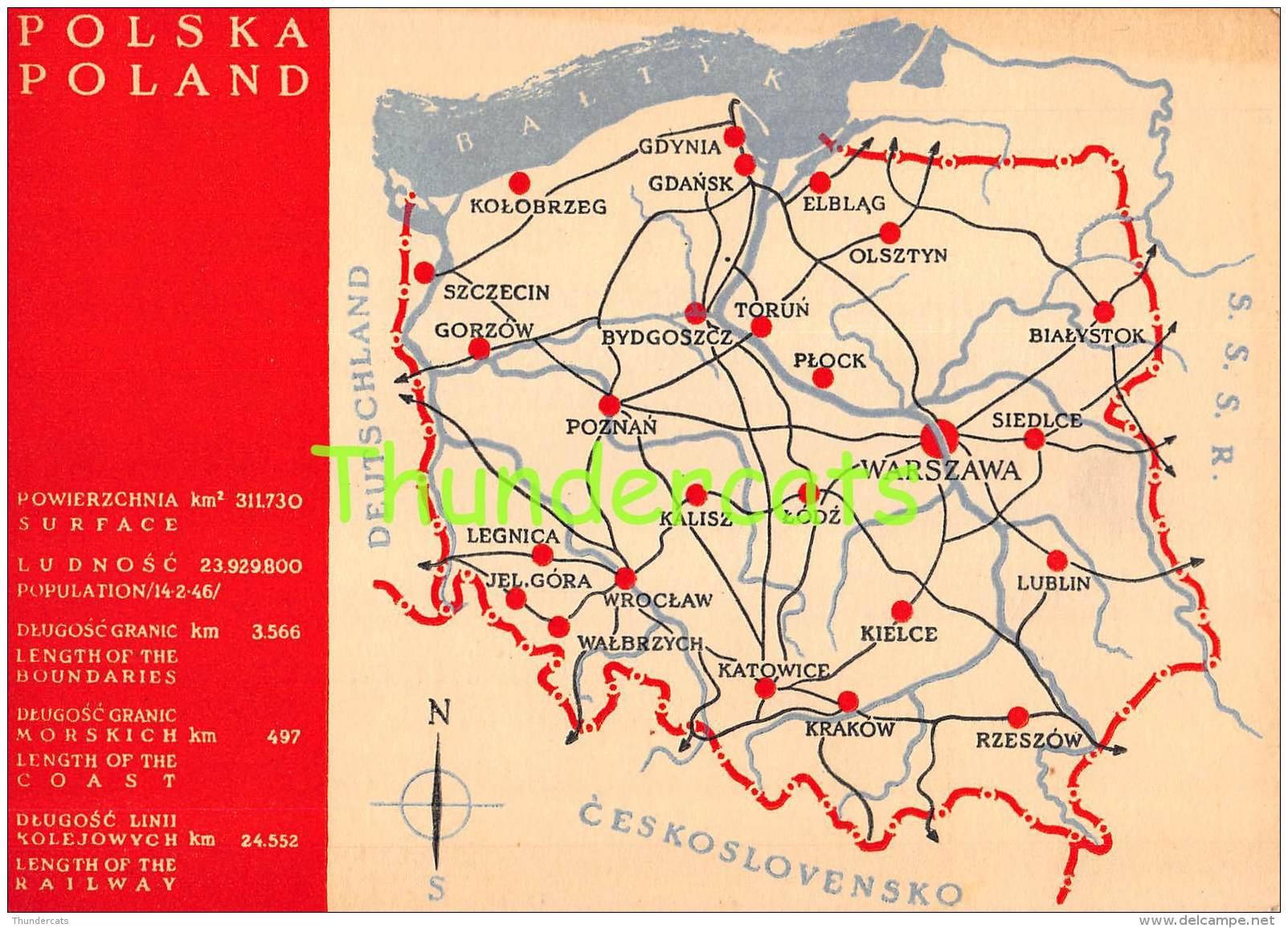 CPSM POLSKA POLAND WARSZAWA MAP PLAN - Pologne
