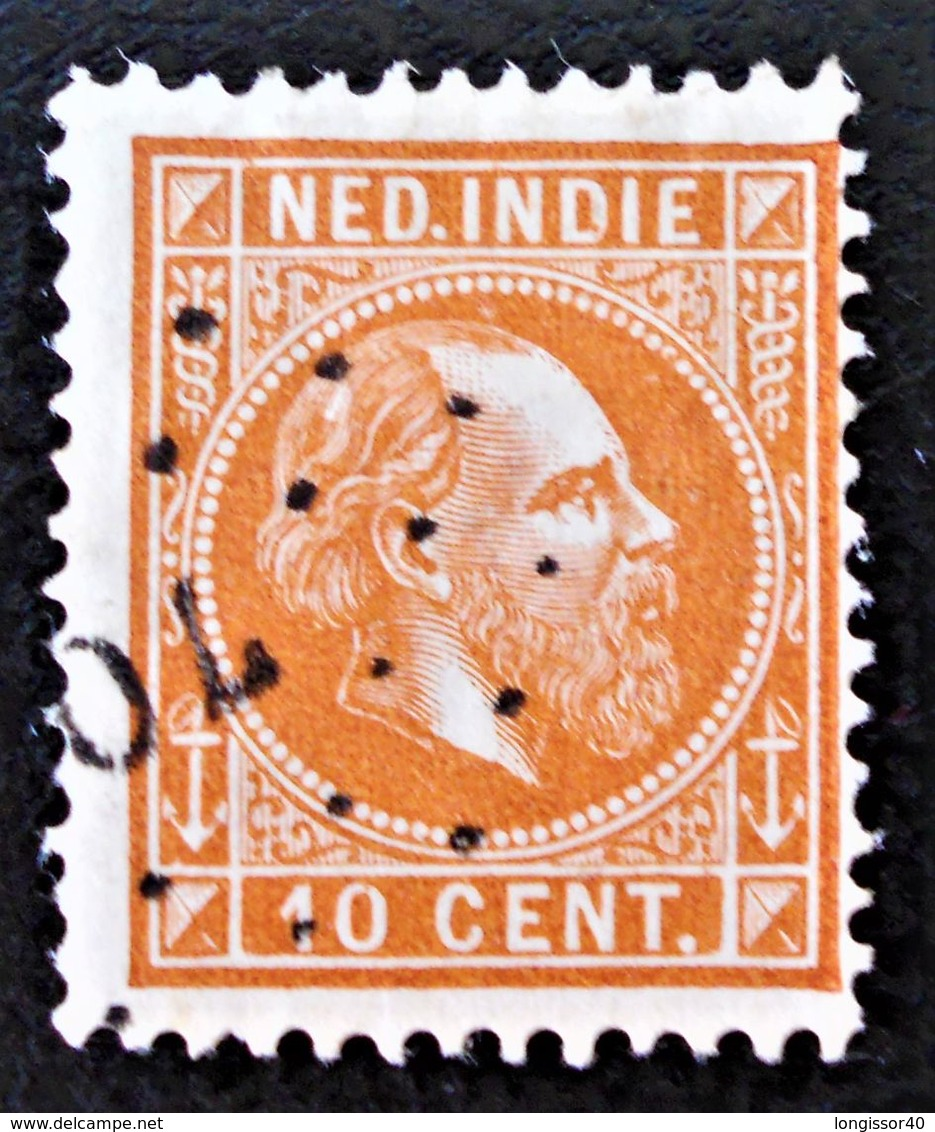 EFFIGIE DE GUILLAUME III 1870/86 - OBLITERE - YT 8 - MI 9x - DENTELE 12 1/2 - OBLITERATION PETITS POINTS - Niederländisch-Indien