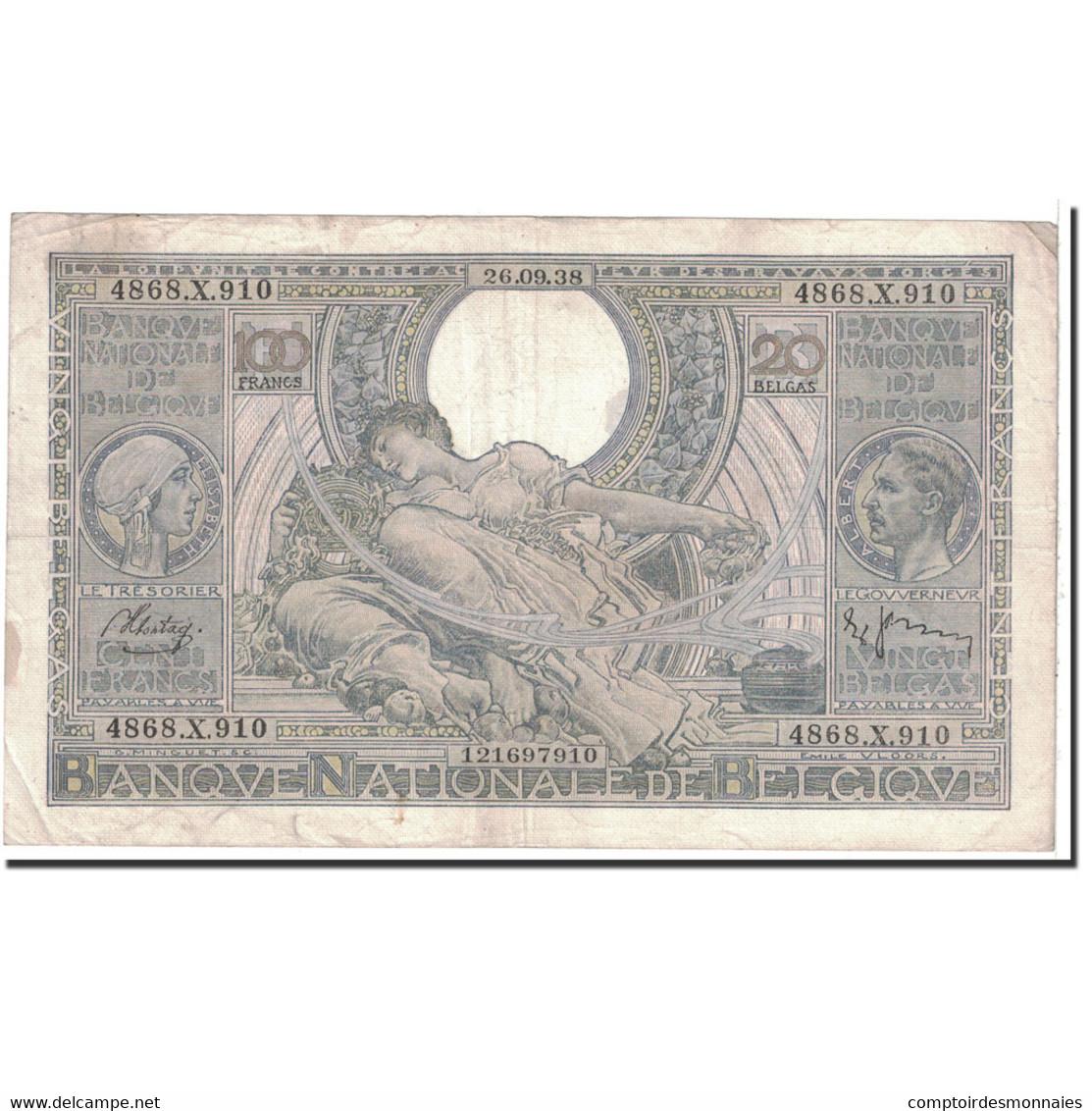Billet, Belgique, 100 Francs-20 Belgas, 1938, 1938-09-26, KM:107, TTB - 100 Franchi & 100 Franchi-20 Belgas