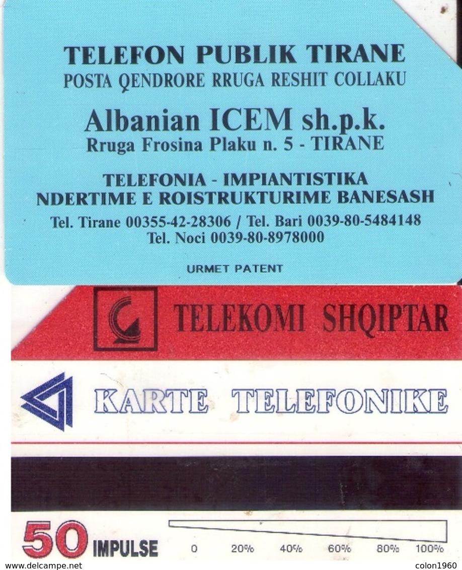 TARJETA TELEFONICA DE ALBANIA. URMET (080) ERROR, 50 COLOR DESPLAZADO - Albanie