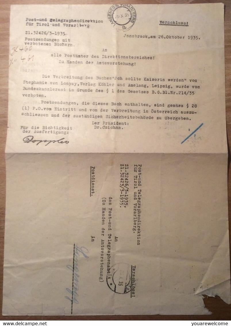 Österreich 1935 Postformular ZENSUR VERBOTENE BÜCHER (Langenegg Tirol Vorarlberg   BRIEF - 1918-1945 1. Republik
