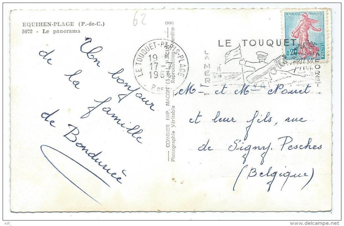 CPSM COLORISEE EQUIHEN PLAGE, LE PANORAMA, VACHES, Format 9 Cm Sur 14 Cm Environ, PAS DE CALAIS 62 - France