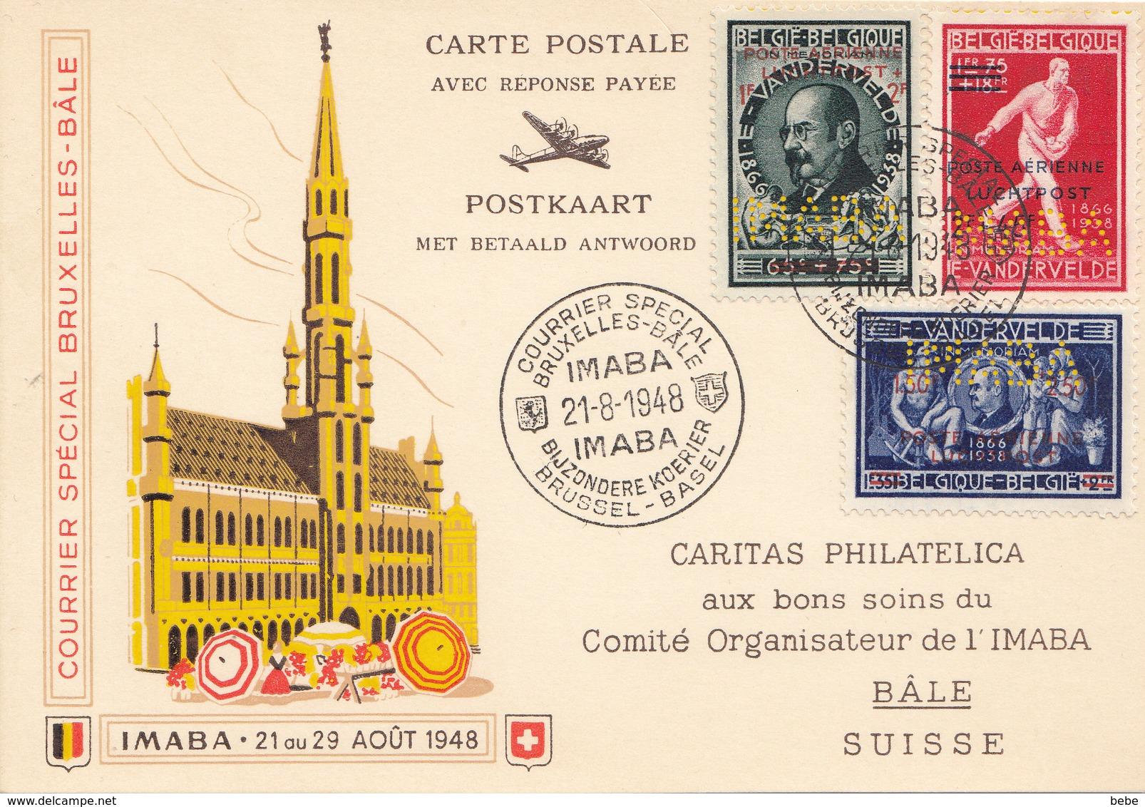 POSTE AÉRIENNE COURRIER SPÉCIAL BRUXELLES-BALE TIMBRES  PERFORE CARTE RÉPONSE PAYER/REPONSE 21-8-1948 - Poste Aérienne