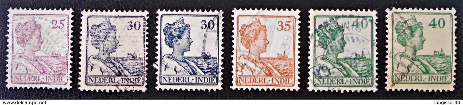 WILHELMINE 1913/14 - OBLITERES - YT 113/14 + 140 + 154 - VARIETES DE TEINTES ET D'OBLITERATIONS - Niederländisch-Indien