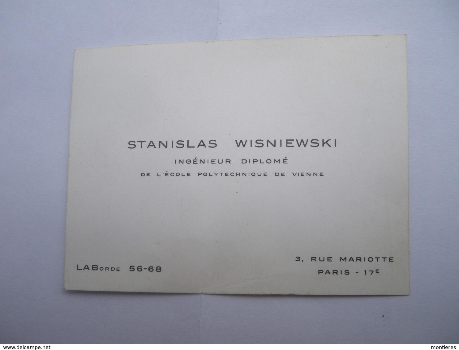 Stanislas WISNIEWSKI école Polytechnique De Vienne 2 Rue Mariotte Paris 17e - Cartes De Visite