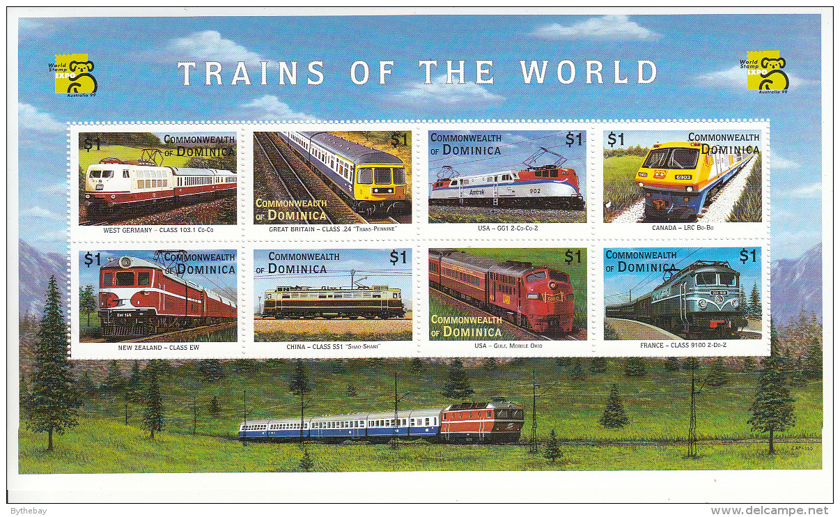 Dominica 1999 MNH Scott #2129 Sheet Of 8 $1 Trains - Dominique (1978-...)