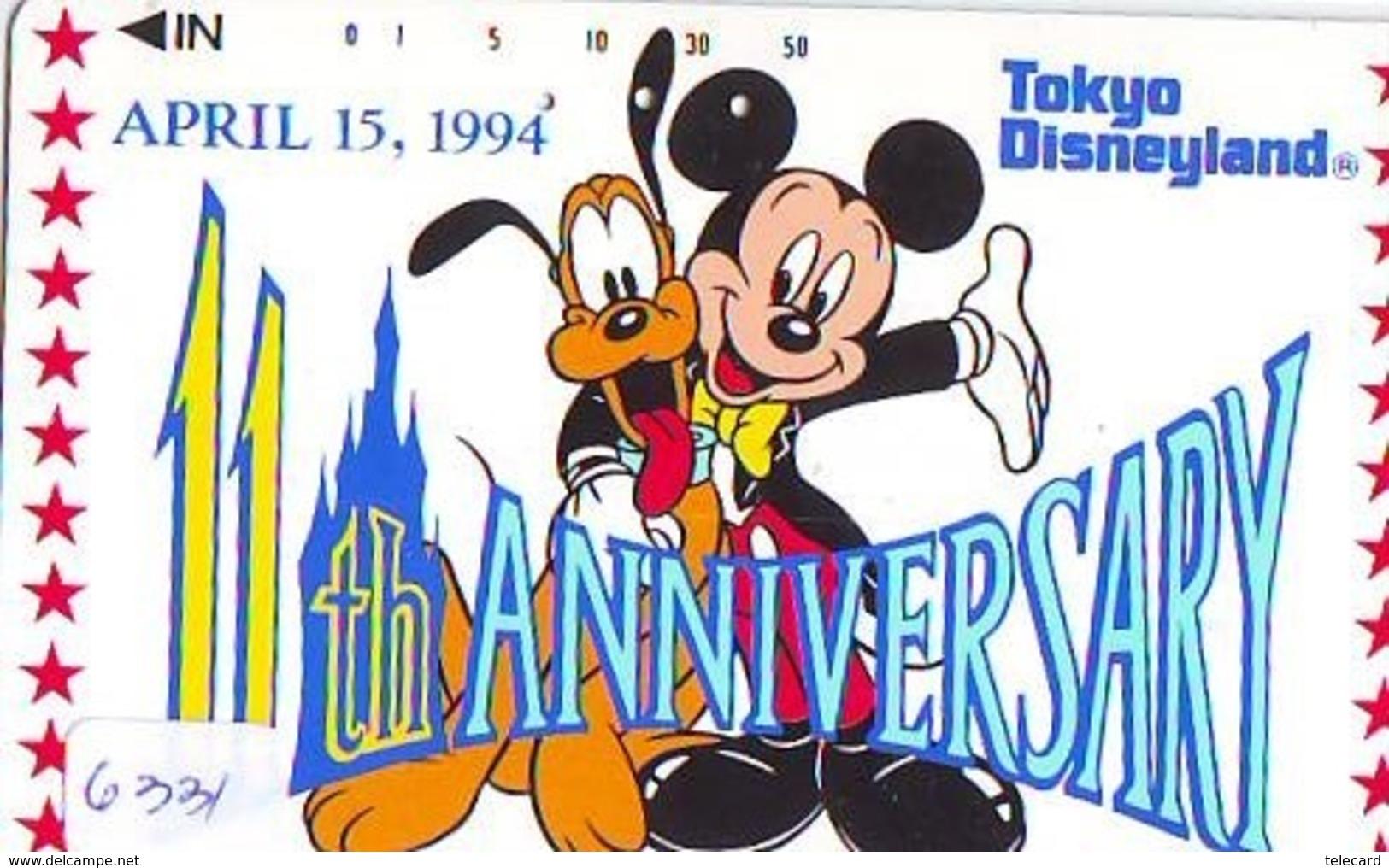 Télécarte Japon /110-154593 - DISNEY - DISNEYLAND - 11 YEARS (6331) Mickey & Chien Pluto DOG * Japan Phonecard - Disney