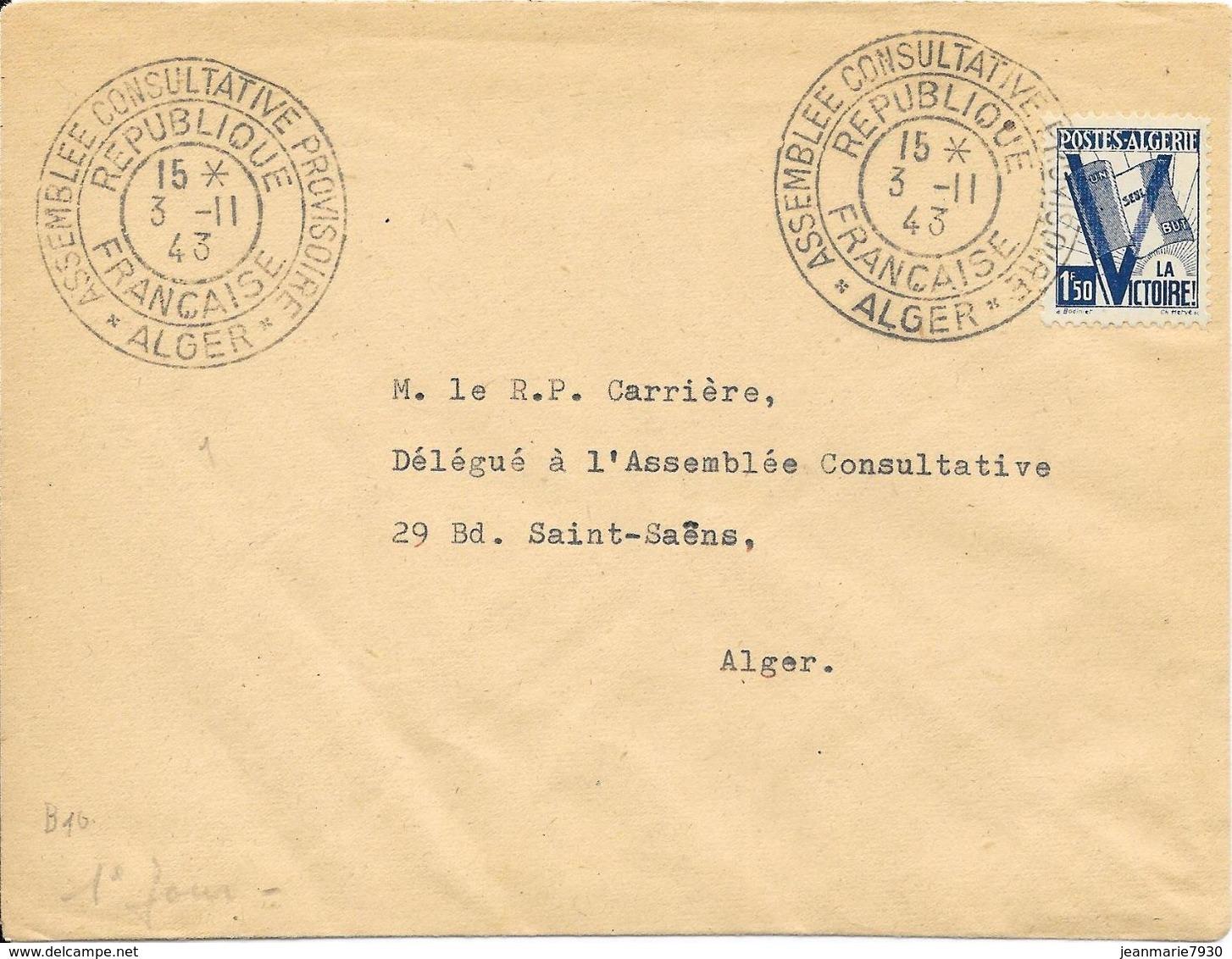 LOT 1804006 - ALGERIE LETTRE DE ALGER DU 3 NOVEMBRE 1943 POUR  ALGER - CACHET ASSEMBLEE CONSULTATIVE PROVISOIRE - Algerien (1924-1962)