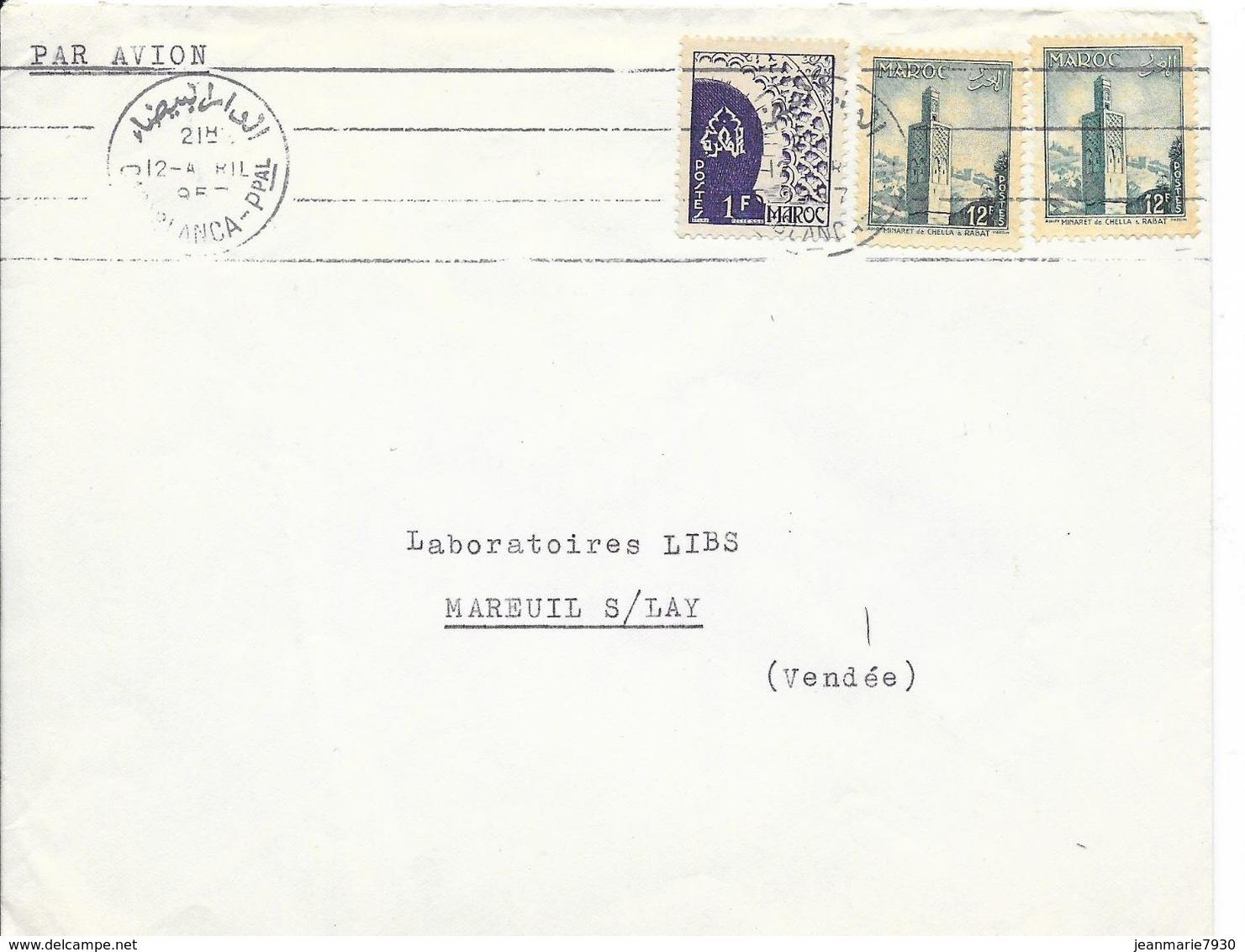 LOT 1804036 - MAROC LETTRE DE CASABLANCA DU 12 AVRIL 1957 POUR MAREUIL SUR  LAY - Marokko (1891-1956)
