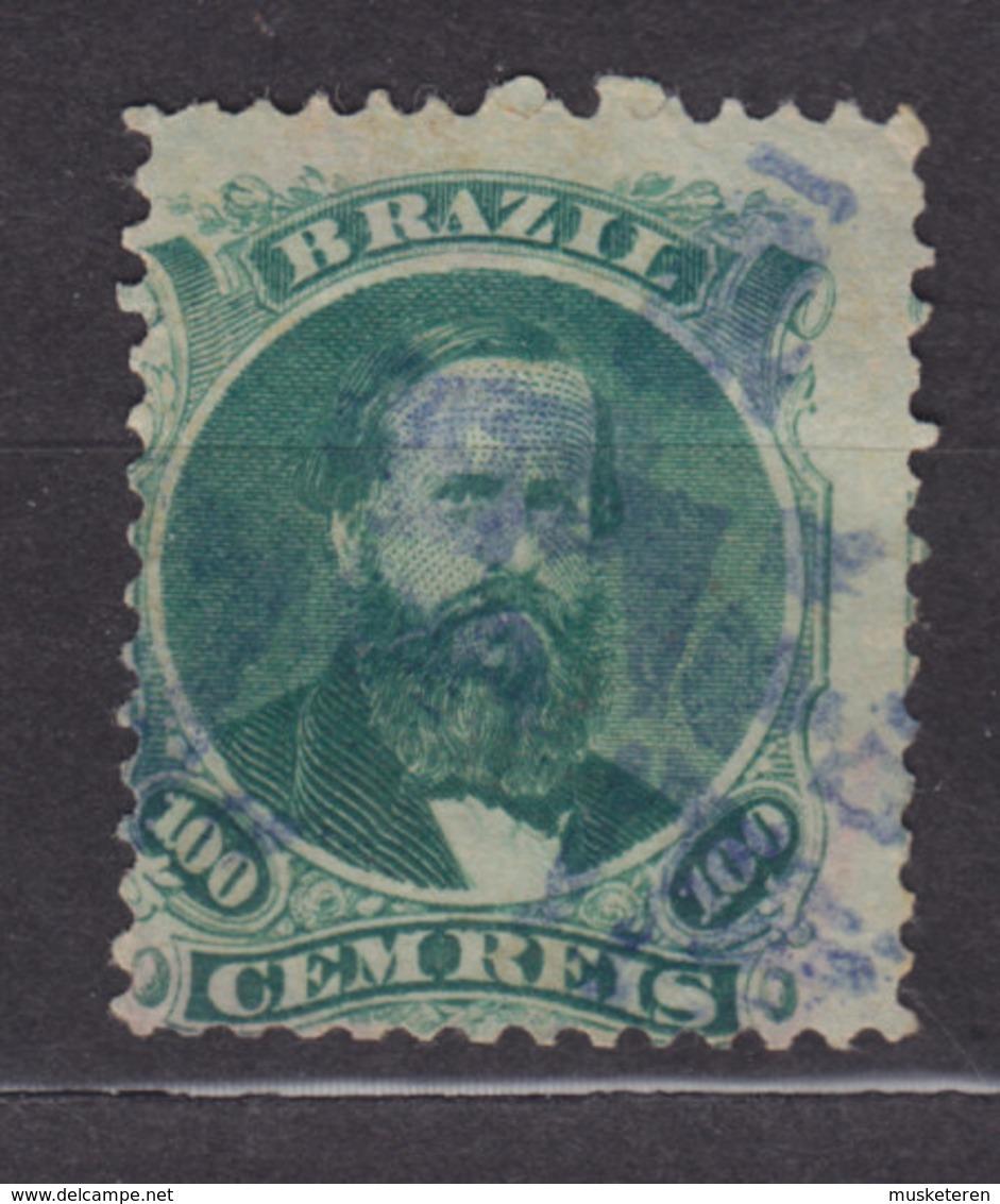 Brazil 1866 Mi. 27      100 R Kaiser Pedro II. Mit Dunkelem Vollbart PURPLE Killer Cancel !! - Brasil