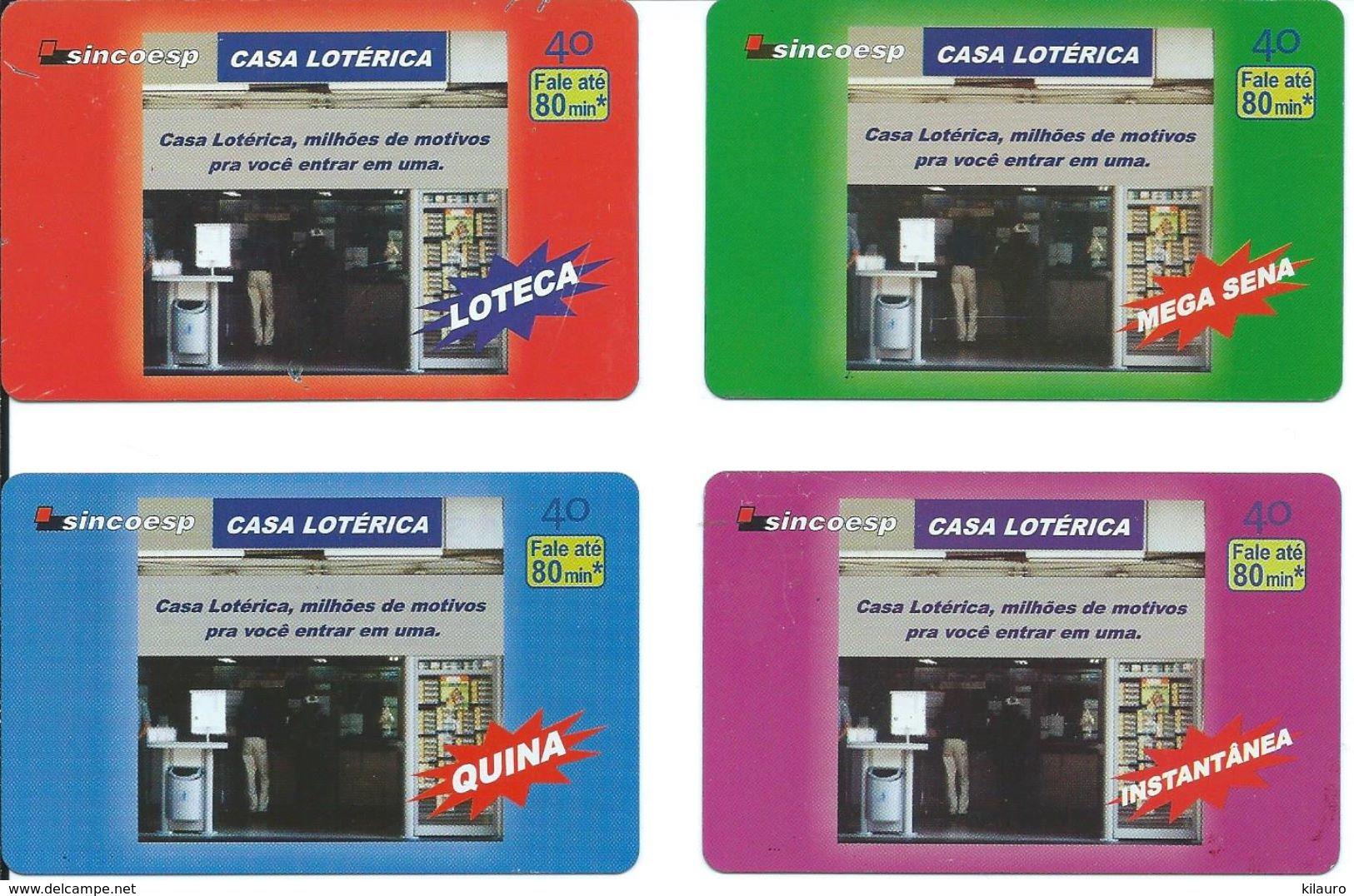 4 Télécartes Brésil Brazil Loterie (D 508) - Brésil