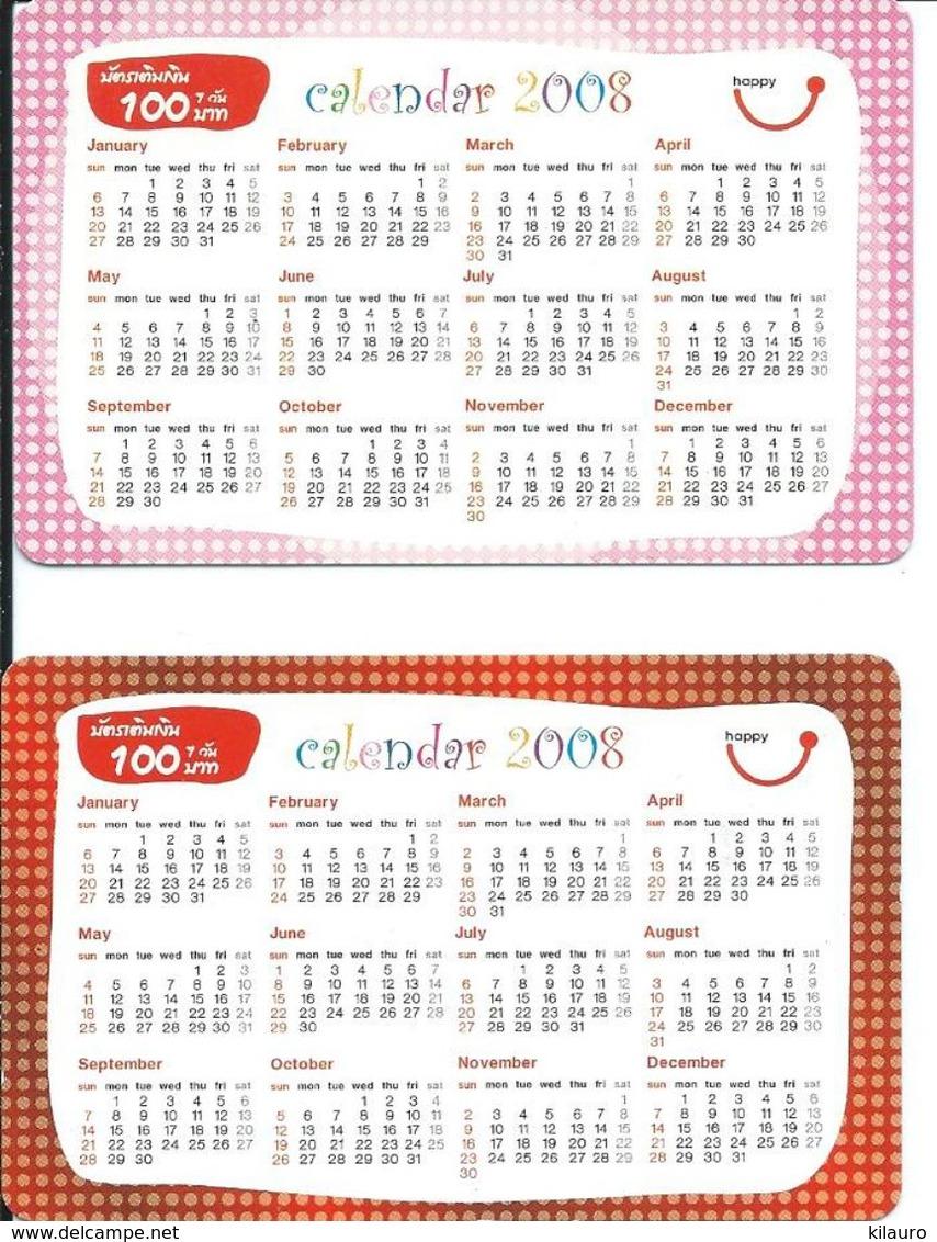 2 Cartes Prépayées Thailande Calendrier Calendar (D 509) - Thaïlande