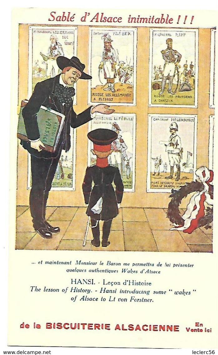 PUBLICITE BISCUITERIE ALSACIENNE HANSI LECON D'HISTOIRE CPA 2 SCANS - Publicité