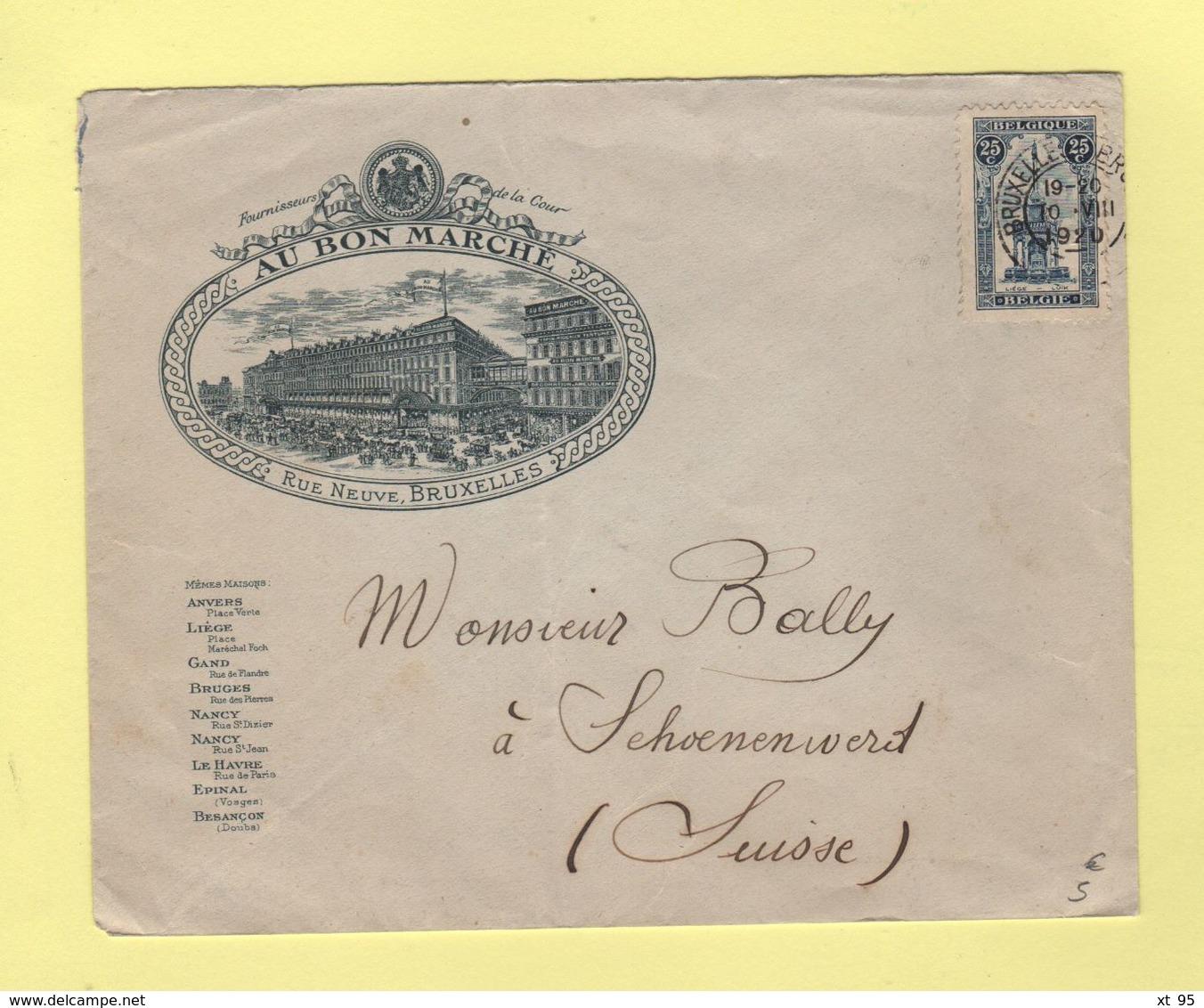 Bruxelles - Enveloppe Illustrée Destination Suisse - 1920 - Au Bon Marché - Covers & Documents