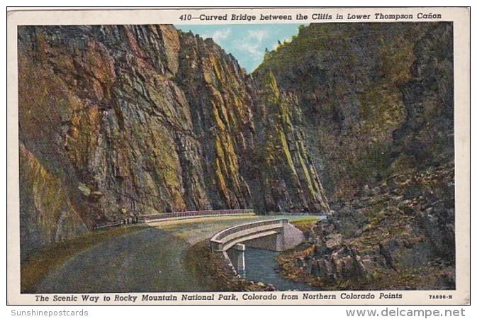 Colorado Rocky Mountains National Park Curved Bridge Between Cli