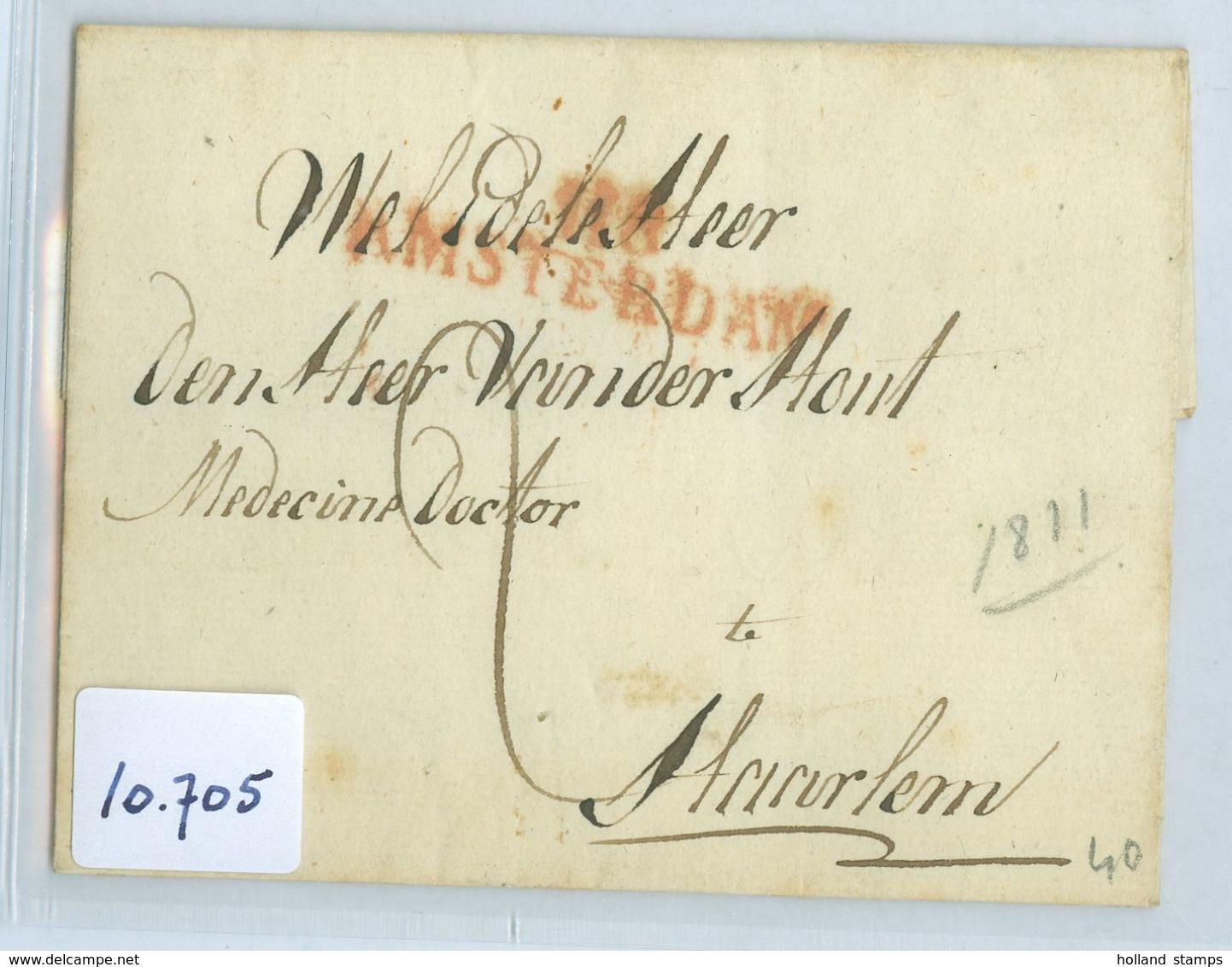 BRIEFOMSLAG Uit 1811 Gelopen Van Département Stempel AMSTERDAM 118 Naar HAARLEM (10.705) - ...-1852 Voorlopers