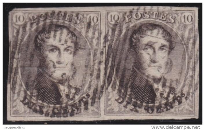 Belgie    .     OBP   .     6  Paar       .      O       .      Gebruikt   .     /     .    Oblitéré - 1851-1857 Médaillons (6/8)