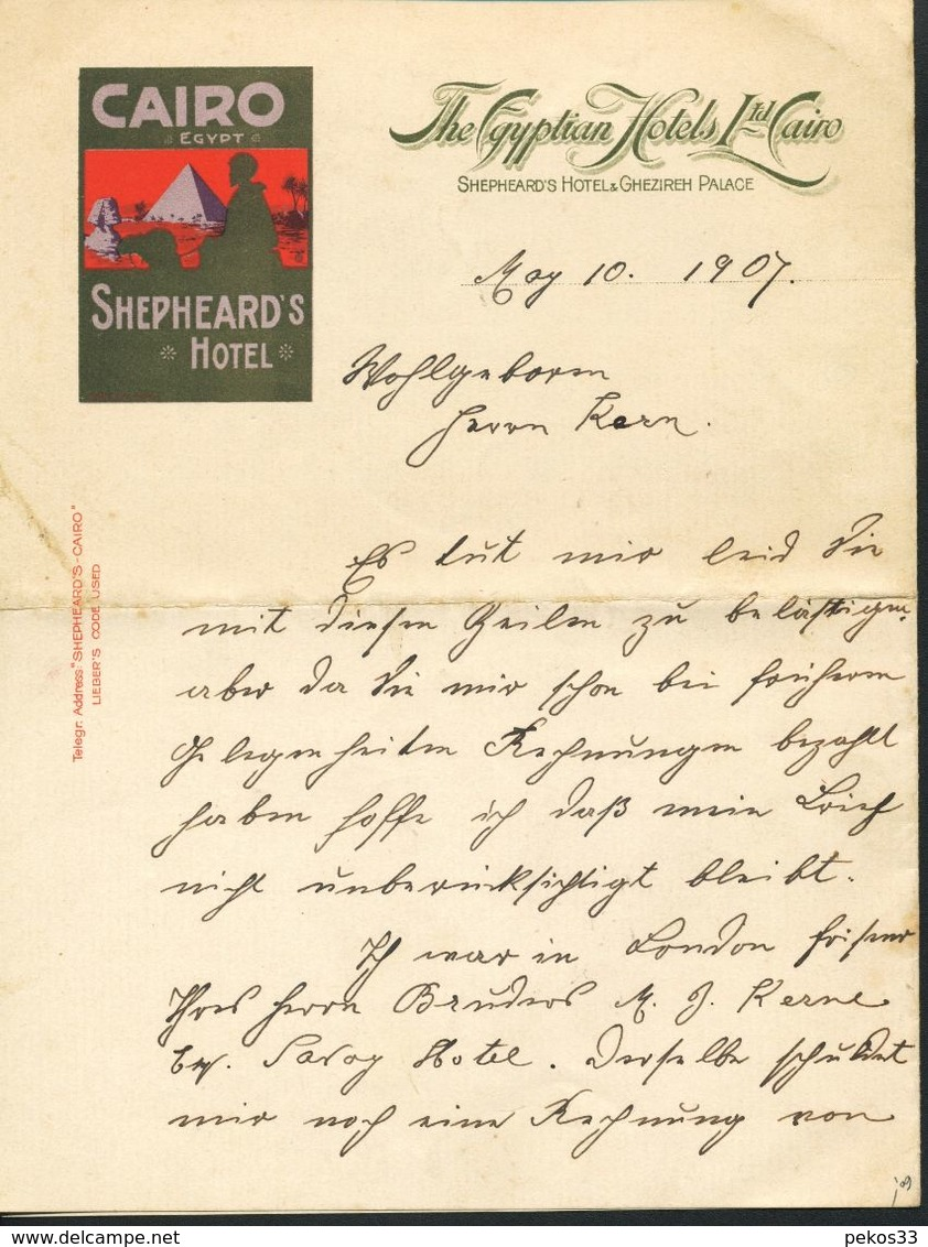 Cairo  Shepheard`S Hotel  Beschwerdebrief - Alte Papiere