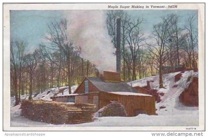 Vermont Maple Sugar Making Scene Curteich