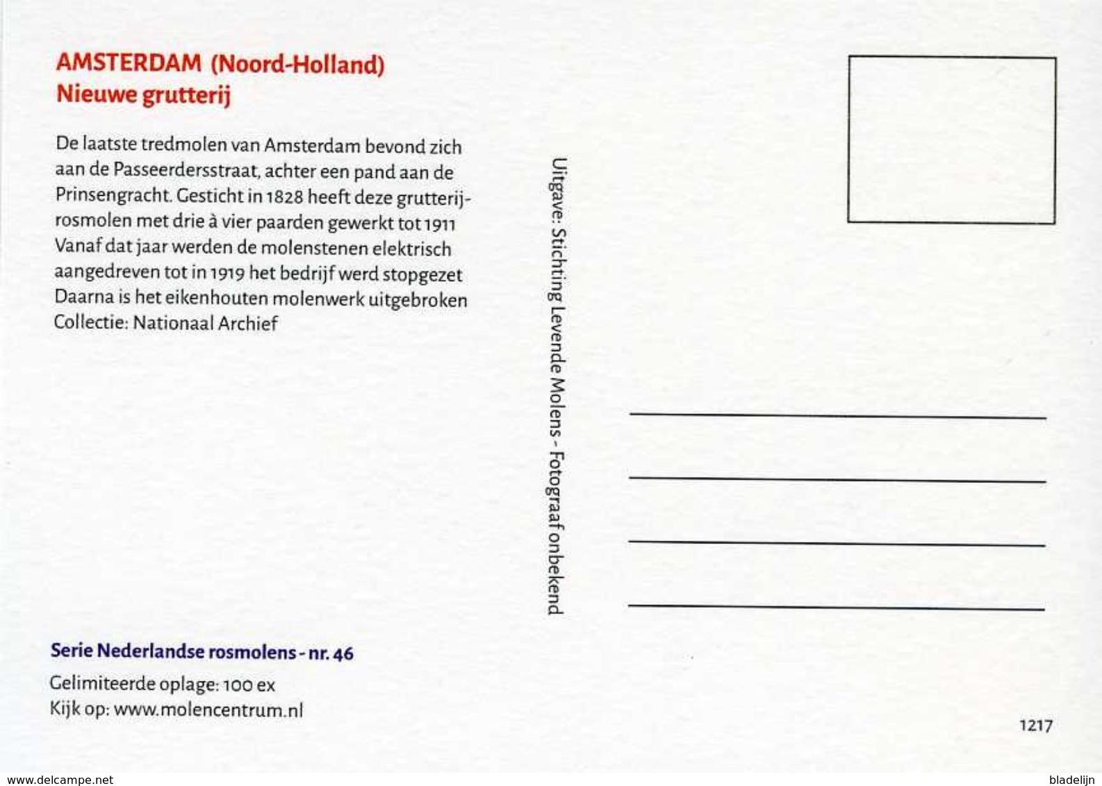 AMSTERDAM (N.H.) - Molen/moulin - Oude Opname (ca. 1910) Van De Verdwenen Rosmolen 'De Nieuwe Grutterij' - Amsterdam