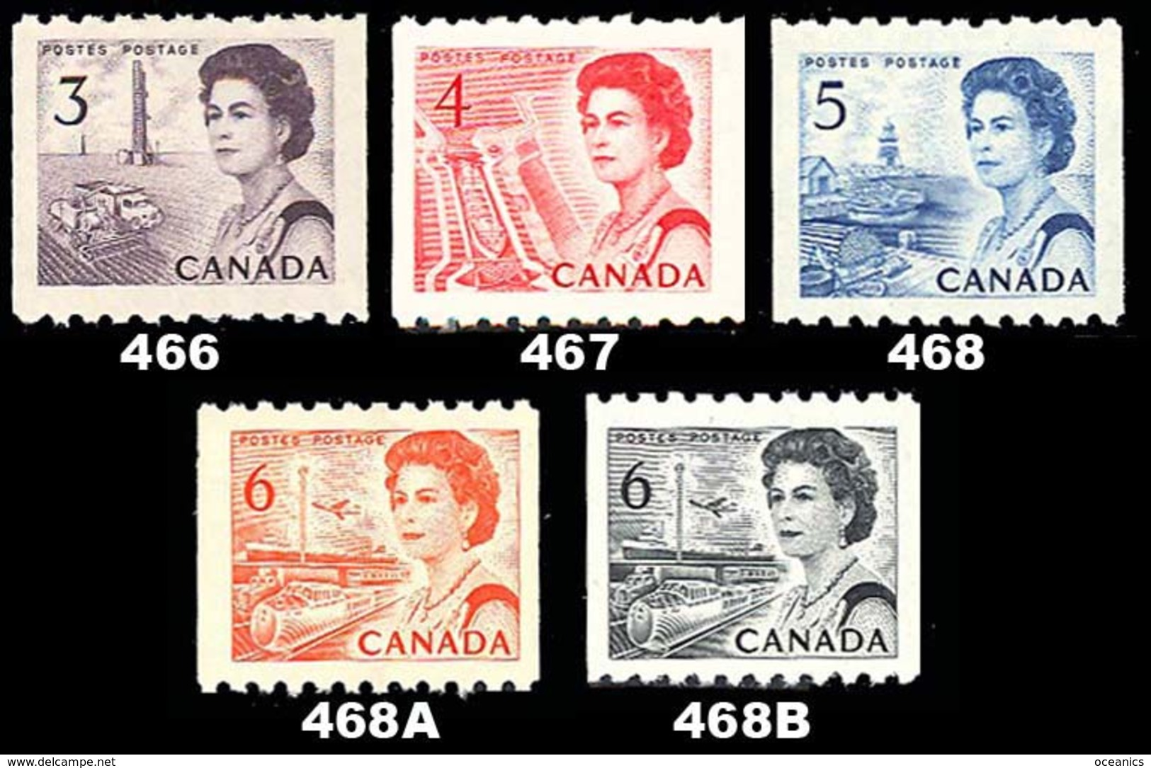 Canada (Scott No. 466-68b - Reine Elizabeth / Queen Elizabeth) [**] Roulette / Coil  Set - 1952-.... Règne D'Elizabeth II