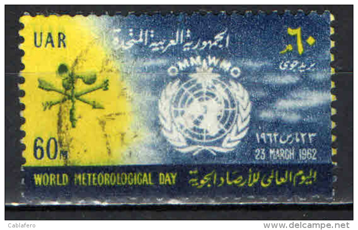 EGITTO - 1962 - Weather Vane, Anemometer And UN World Meteorological Organization Emblem- World Meteorological Day-USATO - Posta Aerea