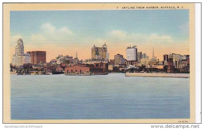 New York Buffalo Skyline From Harbor Curteich